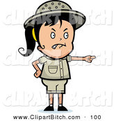 Clip Vector Cartoon Art of a Mad Pointing Safari Girl on White by Cory Thoman