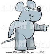 Clip Vector Cartoon Art of a Mad Rat Pointing to the Right by Cory Thoman