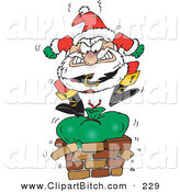 Clip Vector Cartoon Art of a Mad Santa Claus Angrily Stomping on His Toy Sack to Squish It down the Chimney by Dennis Holmes Designs