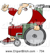 Clip Vector Cartoon Art of a Mad Santa Waving His Fist in Anger While Rolling His Wheelchair by Djart