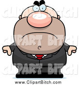 Clip Vector Cartoon Art of a Mad Short White Businessman in a Suit by Cory Thoman
