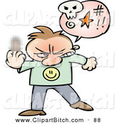 Clip Vector Cartoon Art of a Mad Toon Guy Cursing and Holding up His Middle Finger with a Blurred Spot by Gnurf