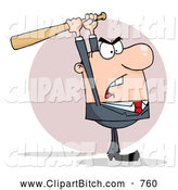 Clip Vector Cartoon Art of a Mad White Business Man Holding a Bat over His Head by Hit Toon
