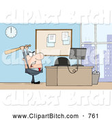 Clip Vector Cartoon Art of a Mad White Businessman Holding a Bat over a Computer by Hit Toon