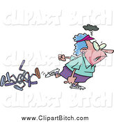 Clip Vector Cartoon Art of a Mad White Female Golfer Walking Away from Bent Clubs by Toonaday