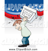 September 7th, 2014: Clip Vector Cartoon Art of a Mad White Male Voter Throwing a Ballot Box by David Rey