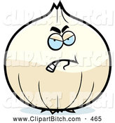 Clip Vector Cartoon Art of a Mad White Onion Character by Cory Thoman
