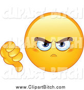 August 12nd, 2014: Clip Vector Cartoon Art of a Mad Yellow Emoticon Holding a Dislike Thumb down by Yayayoyo
