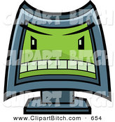 Clip Vector Cartoon Art of a Mean Computer with a Green Evil Face on White by Cory Thoman