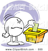 Clip Vector Cartoon Art of a Moodie Character with a Grumpy Expression, Putting an Unfavorable Comment in a Suggestion Box by Johnny Sajem