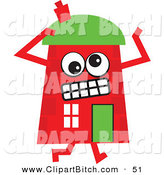 Clip Vector Cartoon Art of a Nervous Red Cartoon House Character by Prawny
