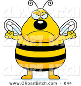 Clip Vector Cartoon Art of a Plump Angry Buzzing Bee Ready to Fight by Cory Thoman