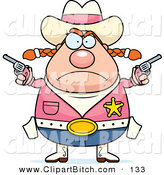 Clip Vector Cartoon Art of a Plump Angry Cowgirl Holding up Guns and Frowning by Cory Thoman