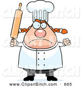 Clip Vector Cartoon Art of a Plump Angry Female Chef Holding up a Rolling Pin in a Nice Kitchen by Cory Thoman