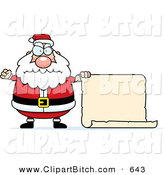 Clip Vector Cartoon Art of a Plump Short Angry Santa with a Blank Scroll Sign by Cory Thoman