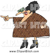 Clip Vector Cartoon Art of a Pointing Chubby Angry Woman in a Leopard Print Dress by Djart