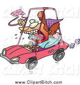 Clip Vector Cartoon Art of a Red Haired White Female Driver with Road Rage by Toonaday