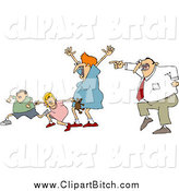 Clip Vector Cartoon Art of a Scared Caucasian Family Running from Dad by Djart