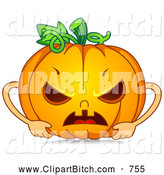 Clip Vector Cartoon Art of a Spooky Mad Halloween Pumpkin by BNP Design Studio