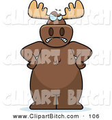 Clip Vector Cartoon Art of a Stern and Angry Brown Moose by Cory Thoman