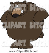 October 9th, 2014: Clip Vector Cartoon Art of a Stern Big Brown Bear with His Hands on His Hips by Djart