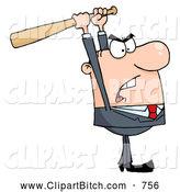 Clip Vector Cartoon Art of a White Businessman Holding a Bat over His Head by Hit Toon