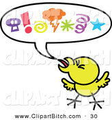 Clip Vector Cartoon Art of a Yellow Chick with Mad Symbols in a Word Balloon by Zooco