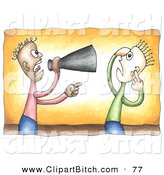 Clip Vector Cartoon Art of an African American Businessman Shouting Through a Megaphone at an Employee by C Charley-Franzwa