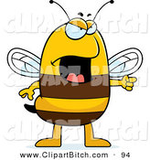 Clip Vector Cartoon Art of an Angry Bee Pointing to the Side by Cory Thoman