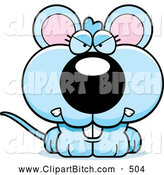 Clip Vector Cartoon Art of an Angry Blue Mouse by Cory Thoman