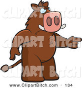 Clip Vector Cartoon Art of an Angry Brown Boar Pointing His Finger by Cory Thoman