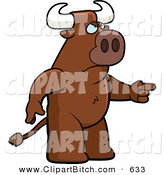 Clip Vector Cartoon Art of an Angry Brown Bull Pointing to the Right by Cory Thoman