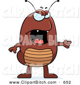 Clip Vector Cartoon Art of an Angry Brown Flea Pointing to the Right by Cory Thoman