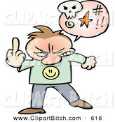 Clip Vector Cartoon Art of an Angry Cartoon Guy Swearing and Holding up His Middle Finger by Gnurf
