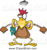 Clip Vector Cartoon Art of an Angry Chicken by Toonaday