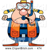 Clip Vector Cartoon Art of an Angry Chubby Female Scuba Diver by Cory Thoman