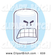 Clip Vector Cartoon Art of an Angry Marshmallow on a Blue Oval by Cory Thoman