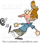 Clip Vector Cartoon Art of an Angry Woman Kicking an at Sign by Toonaday