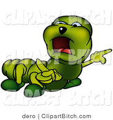Small Green Caterpillar Angrily Pointing to the Right While Yelling and Looking Left by Dero