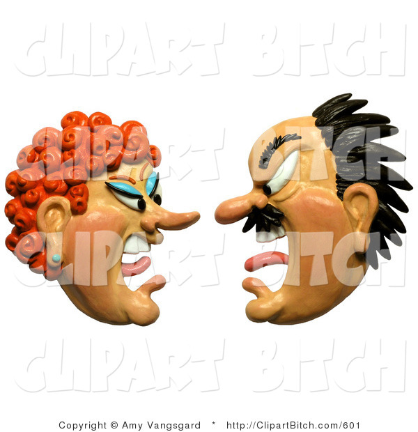 Clip Art of a 3d Angry Couple Screaming at Each Other