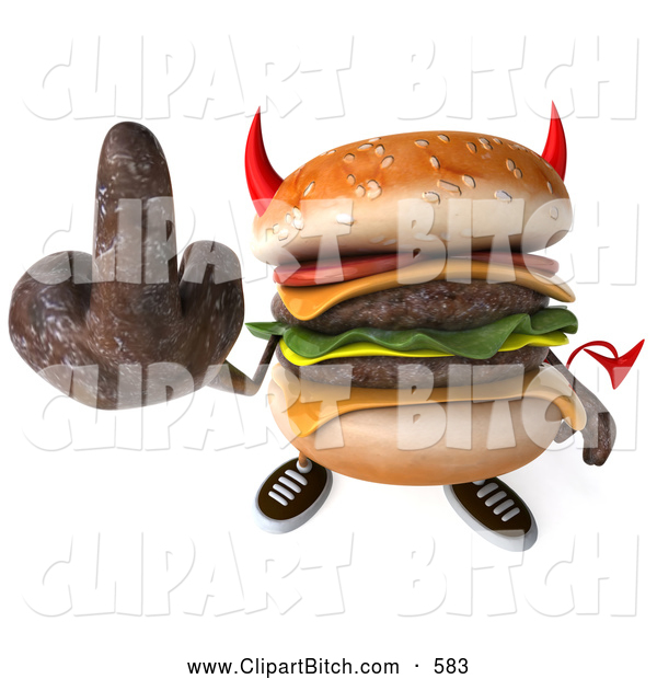 Clip Art of a 3d Devil Unhealthy Hamburger Holding up the Middle Finger
