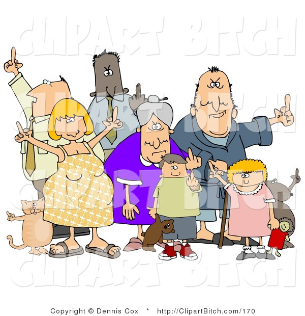 Clip Art of a Diverse Group of Angry People of All Ages and Mixed Ethnicities, Standing with a Dog and a Cat and Flipping People off