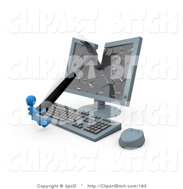 Clip Art of a Frustrated Blue Man Smashing a Flat Screen Computer Monitor with a Hammer