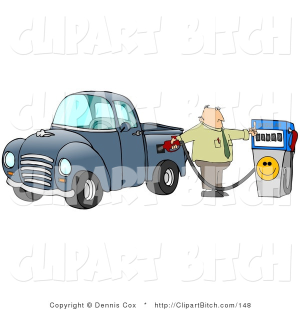 Clip Art of a Frustrated White Business Man Flipping off the Smiley Face on a Fuel Pump While Filling up the Gasoline Tank of His Blue Pickup Truck at a Gas Station