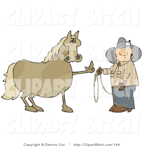 Clip Art of a Fussy and Angry Brown Horse Flipping off a Confused Cowboy Man Who Is Trying to Put a Lasso Around Him