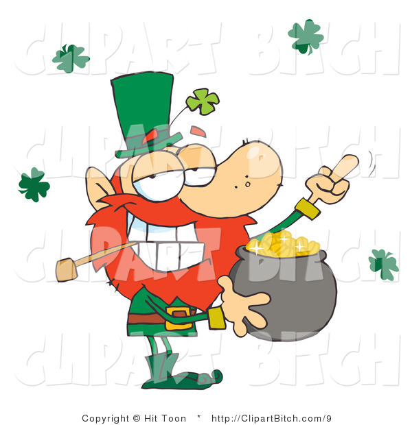 Clip Art of a Leprechaun Guarding His Gold and Flipping the Bird