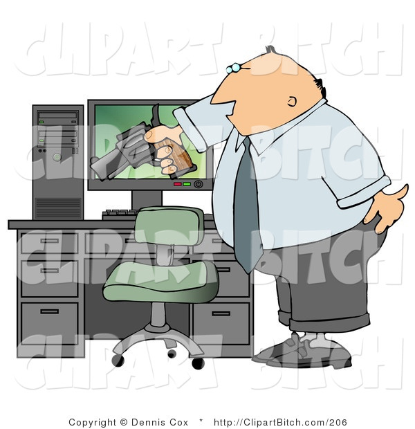 Clip Art of a Mad Businessman Pointing a Gun at His Computer Tower