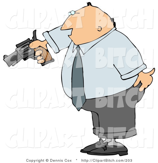 Clip Art of a Mad Businessman Pointing a Loaded Gun at Someone