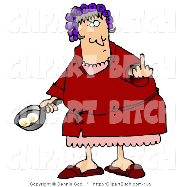 Clip Art of a Mad Female Caucasian, a Wife, with Her Hair up in Curlers, Holding a Frying Pan with Two Eggs in It and Flipping off Her Husband