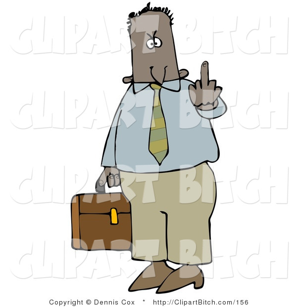 Clip Art of a Mad Male Hispanic or Black Business Person Carrying a Briefcase and Flipping Someone off for Being Rude